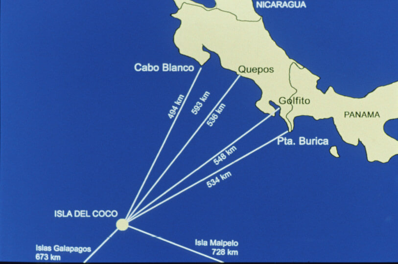 Mapa de distancias a la Isla del Coco