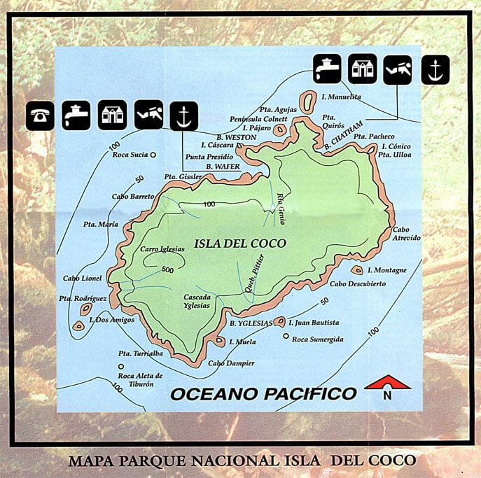 Mapa Actual de la Isla del Coco