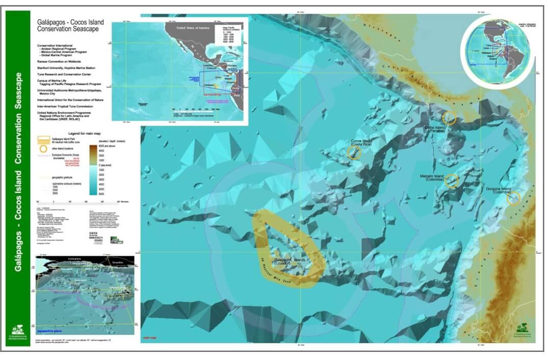 Mapa de la Isla del Coco, cordillera submarina, Costa Rica