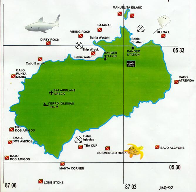 Mapa del Área de Conservación Marina Isla del Coco