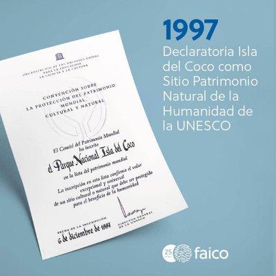 1997, Declaratoria de Ia Isla del Coco como Sitio Patrimonio Natural de la Humanidad de la UNESCO
